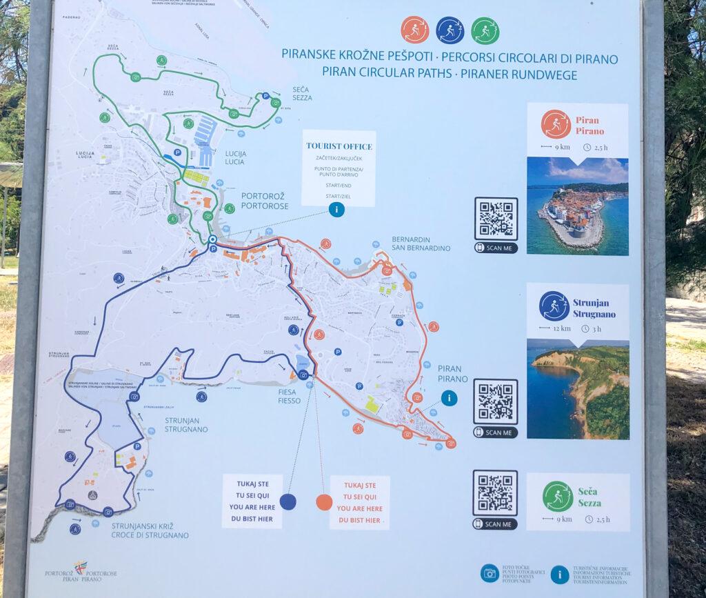 Map of three walkways on Slovenian Adriatic coast