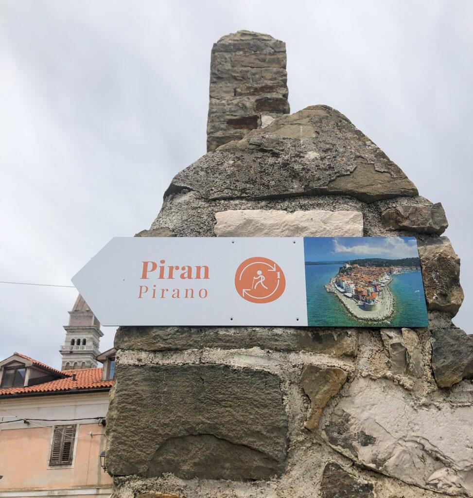 Sign for walkway, Slovenia Adriatic coast